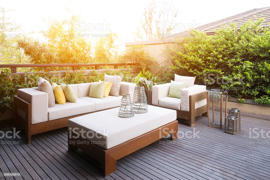 elegant furniture and design in modern patio stock photo