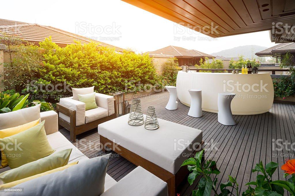 Elegante Einrichtung Und Design In Moderner Terrasse Lizenzfreies Stock Foto