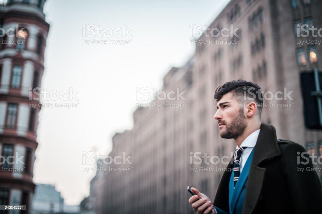 Elegant gentleman in suit stock photo
