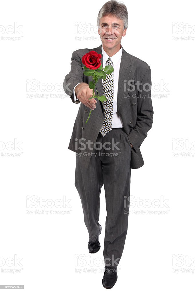 Elegant Gentleman with red rose royalty-free stock photo