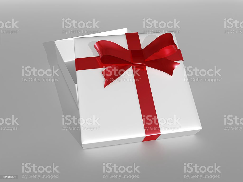 Elegant gift box with a red ribbon royalty-free stock photo