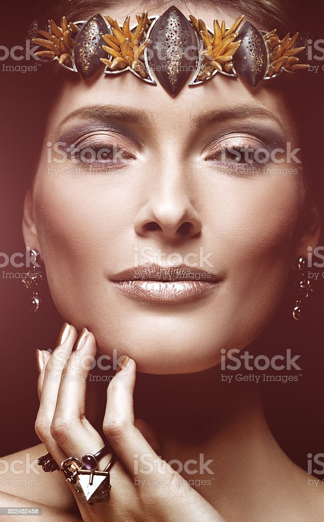 Elegant girl advertising jewellery stock photo