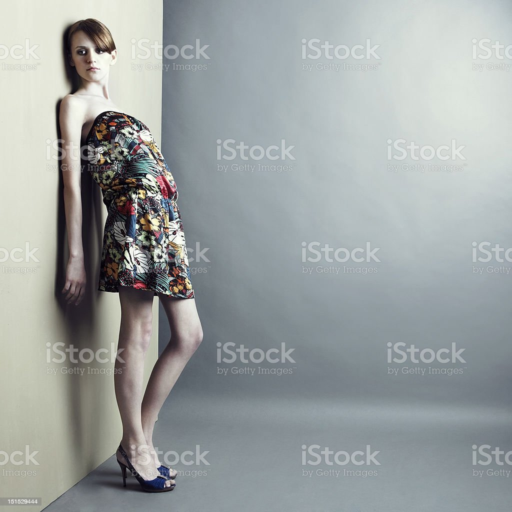 Elegant girl in dress stock photo