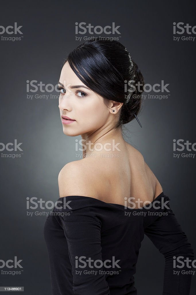 elegant girl with nice hairstyle stock photo