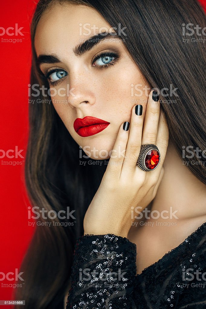 Elegant girl with ring stock photo