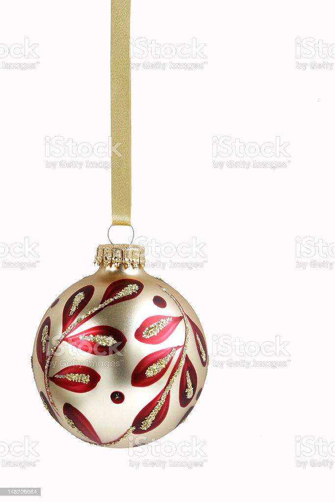 Elegant Gold and Red Christmas Ornament royalty-free stock photo