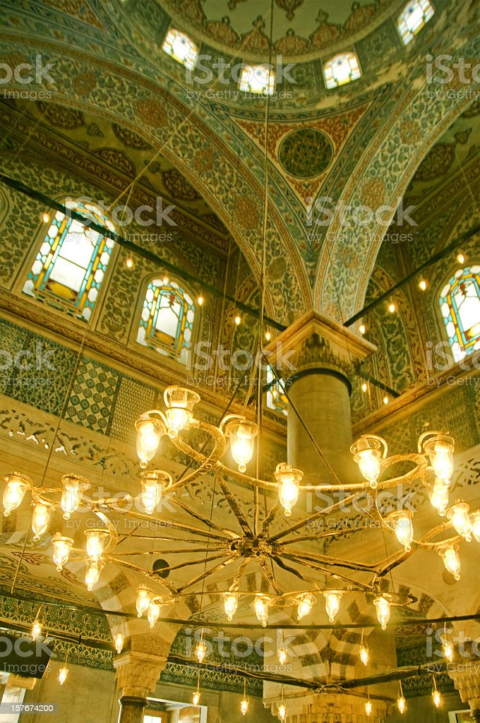 Elegant Gold Chandelier in Blue Mosque royalty-free stock photo