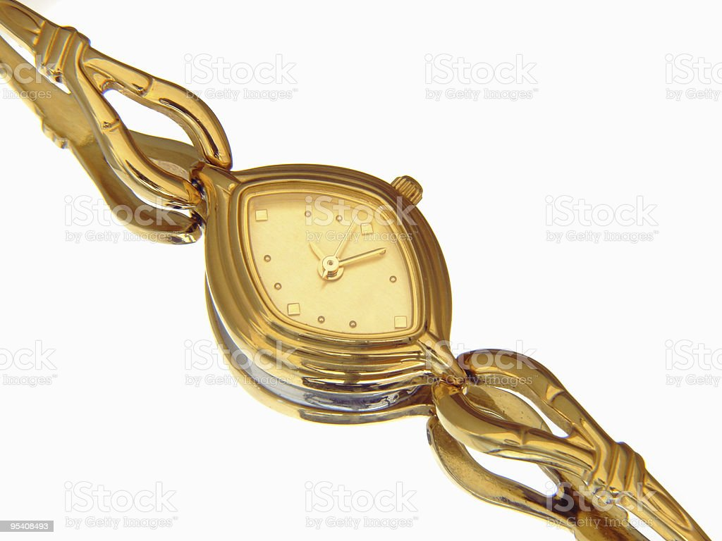 Elegant gold ladies watch royalty-free stock photo
