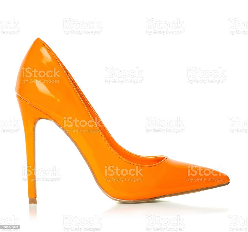 Elegant High Heels pump shoes in orange stock photo