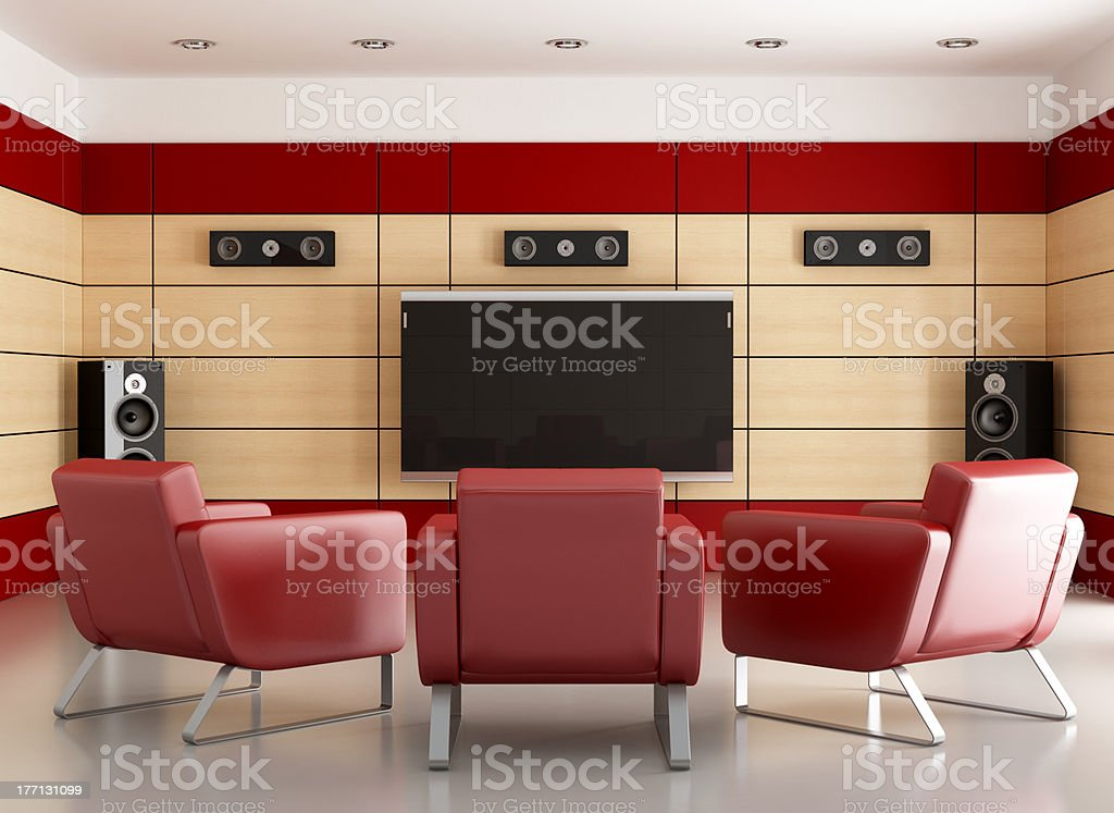 elegant home cinema room stock photo