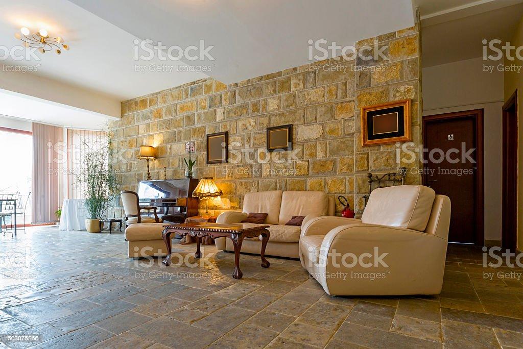 Elegant hotel lobby interior stock photo