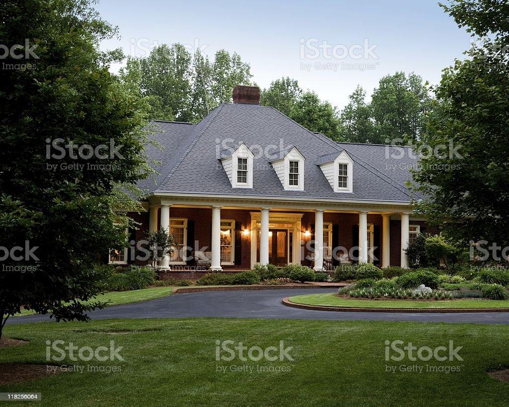 Elegant House Exterior  Illuminated royalty-free stock photo