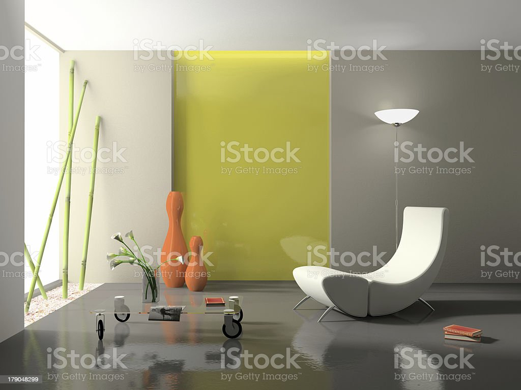 Elegant interior with stylish armchair 3D rendering royalty-free stock photo