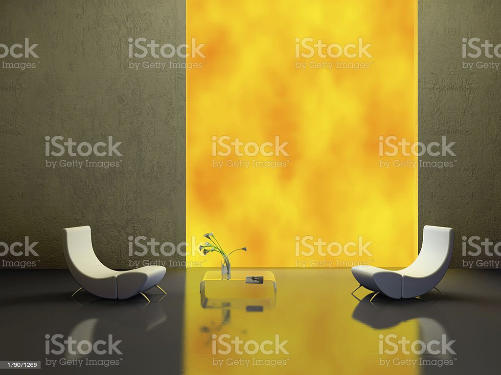 Elegant interior with two white armchairs 3D rendering royalty-free stock photo