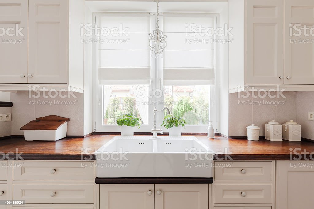 Elegant kitchen furniture stock photo