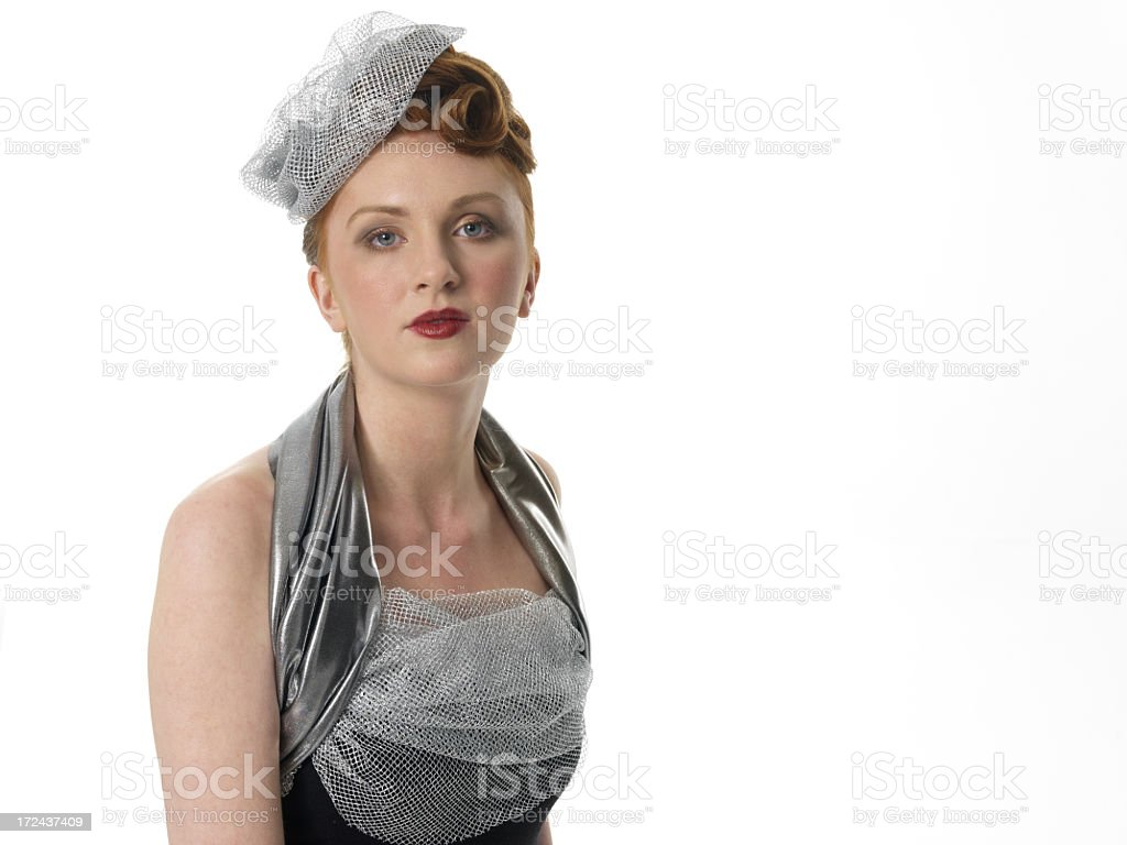 elegant lady in silver hat royalty-free stock photo