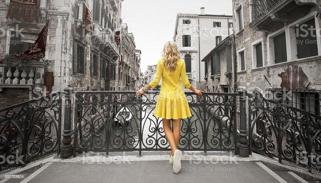 Elegant lady standing on the bridge stock photo
