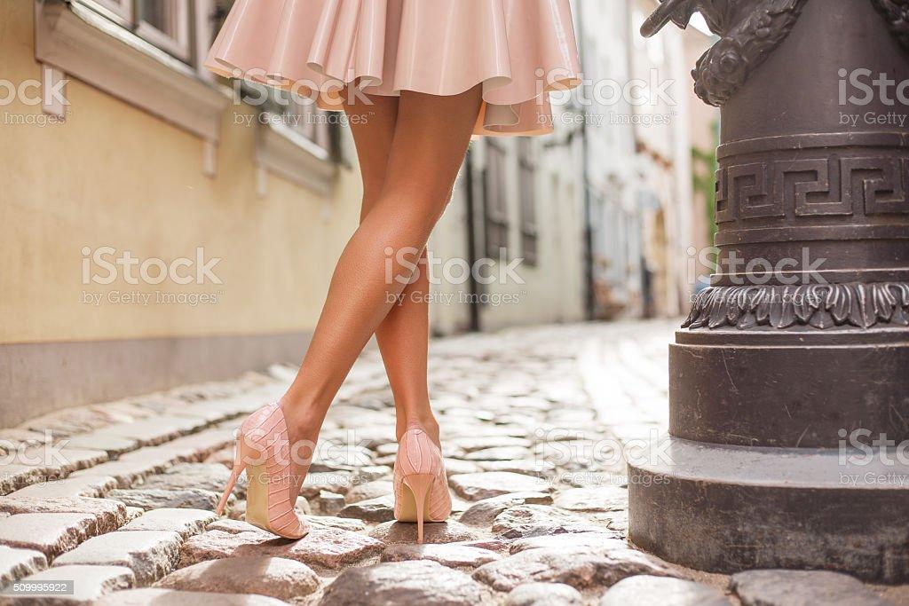Elegant lady wearing high heels stock photo