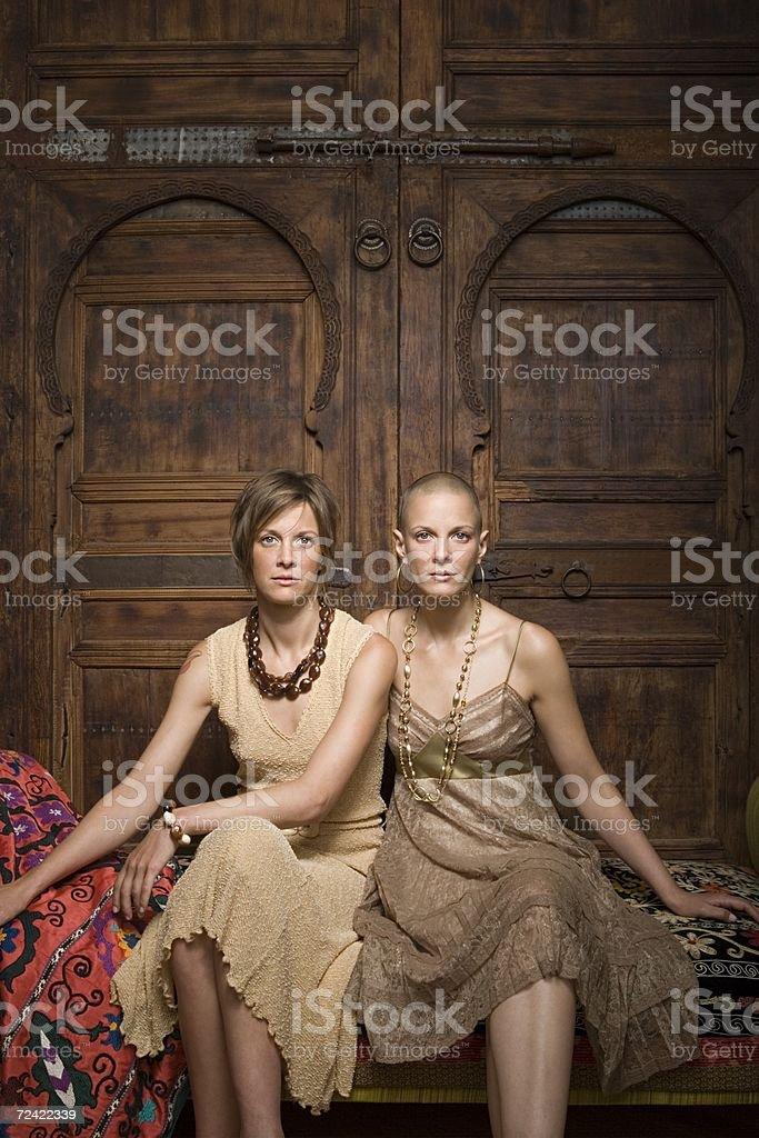 Elegant looking twin sisters royalty-free stock photo