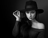Elegant makeup woman in fashion hat posing on dark shadow