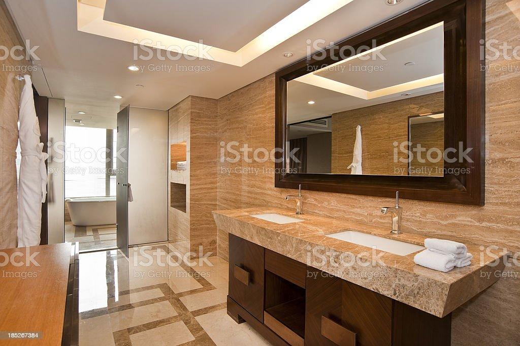 Elegant marble bathroom with two sinks stock photo