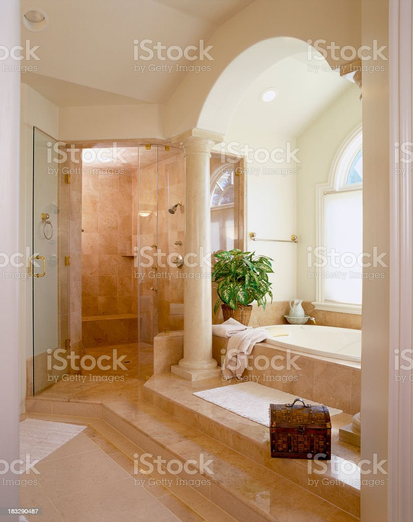 Elegant Marble Shower & Bath royalty-free stock photo