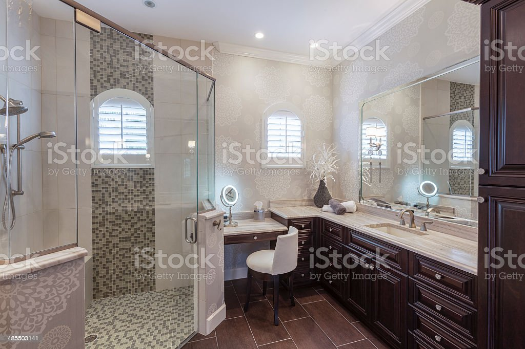 Elegant Master Bathroom in an Upscale Southwest Florida Home stock photo