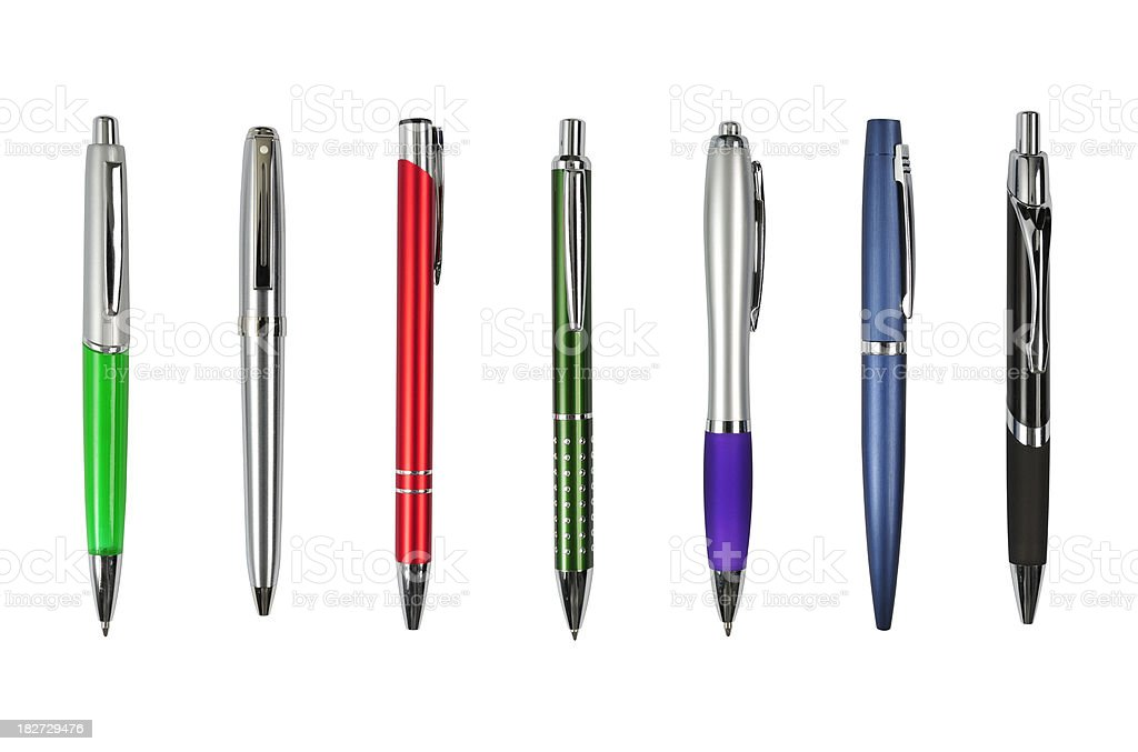 Elegant, metal, business ballpoint pens isolated, clipping paths royalty-free stock photo