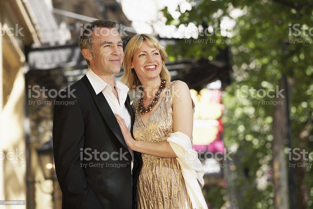 Elegant Middle Aged Couple On London street stock photo