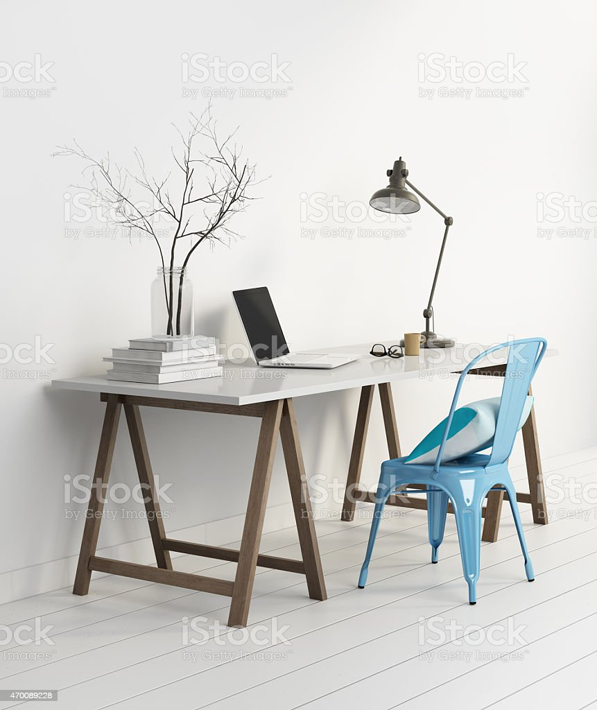 Elegant minimal white home office with blue chair stock photo