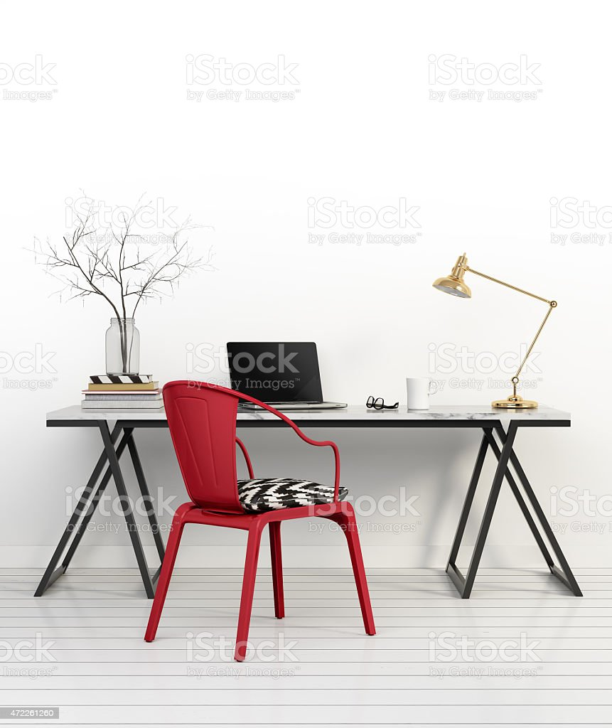 Elegant minimal white home office with red chair stock photo