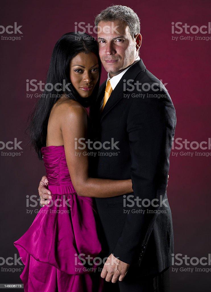 Elegant mixed race couple stock photo