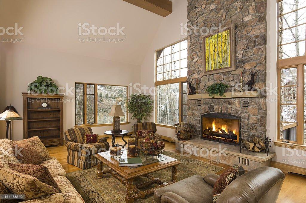 Elegant Mountain Home Interior stock photo