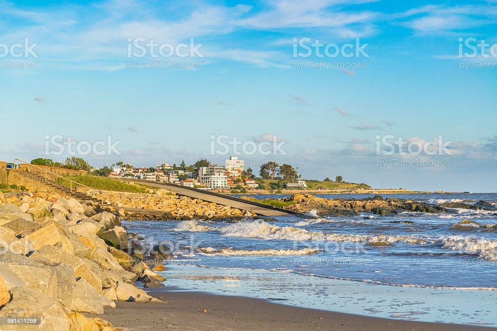 Elegant neighborhood at front of beach in Montevideo stock photo