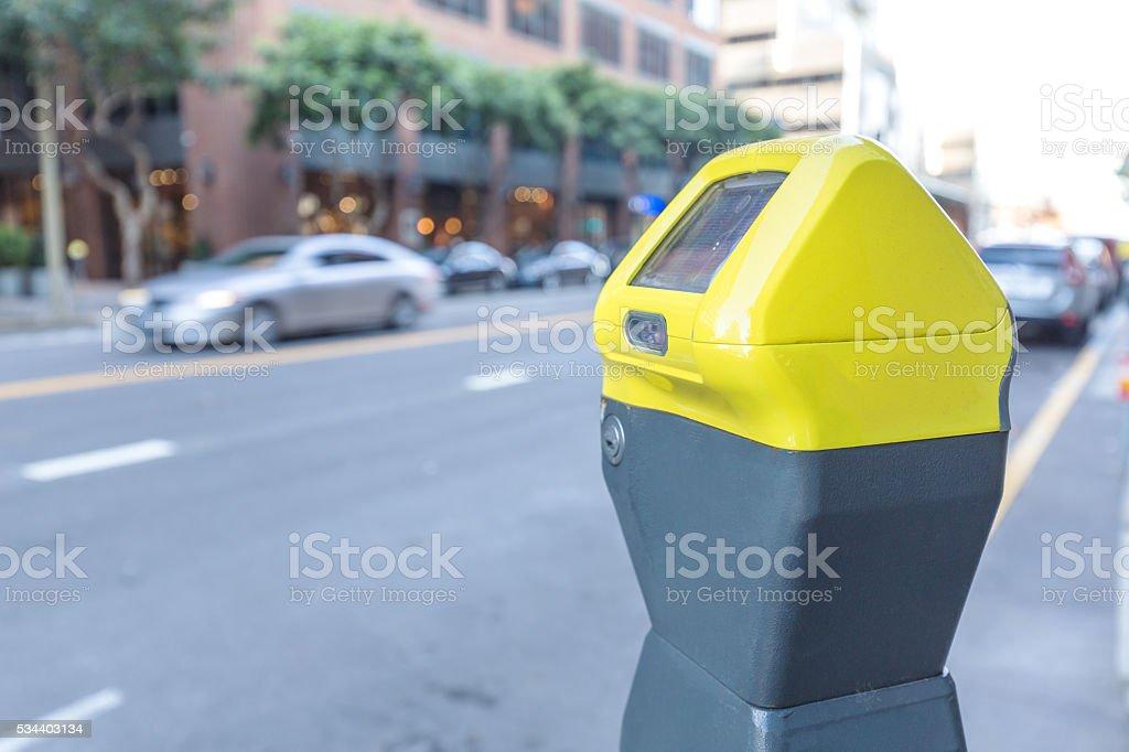 elegant parking machine on street in san francisco stock photo