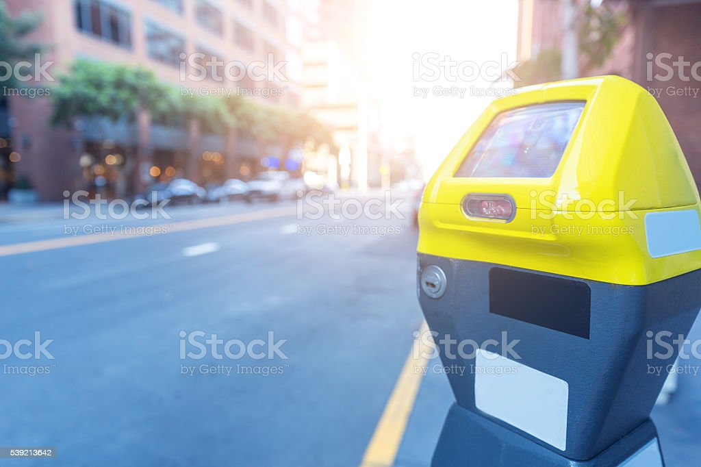 elegant parking machine on street in san francisco stock photo