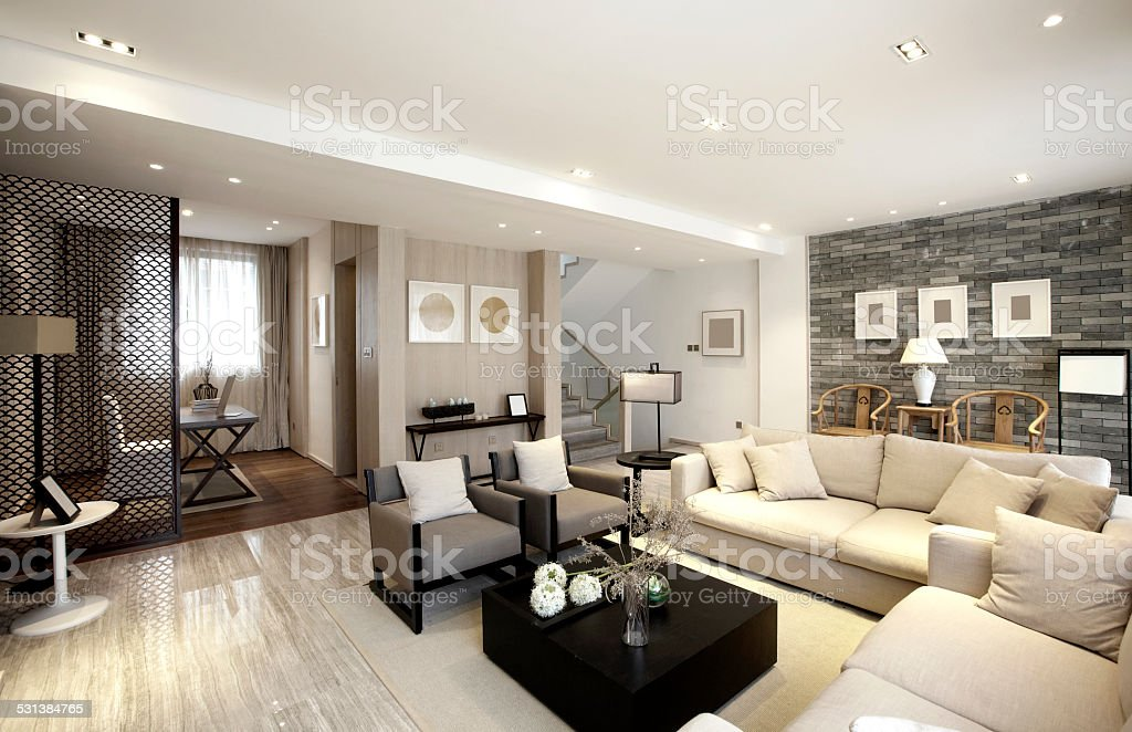 Elegant parlor interiors stock photo