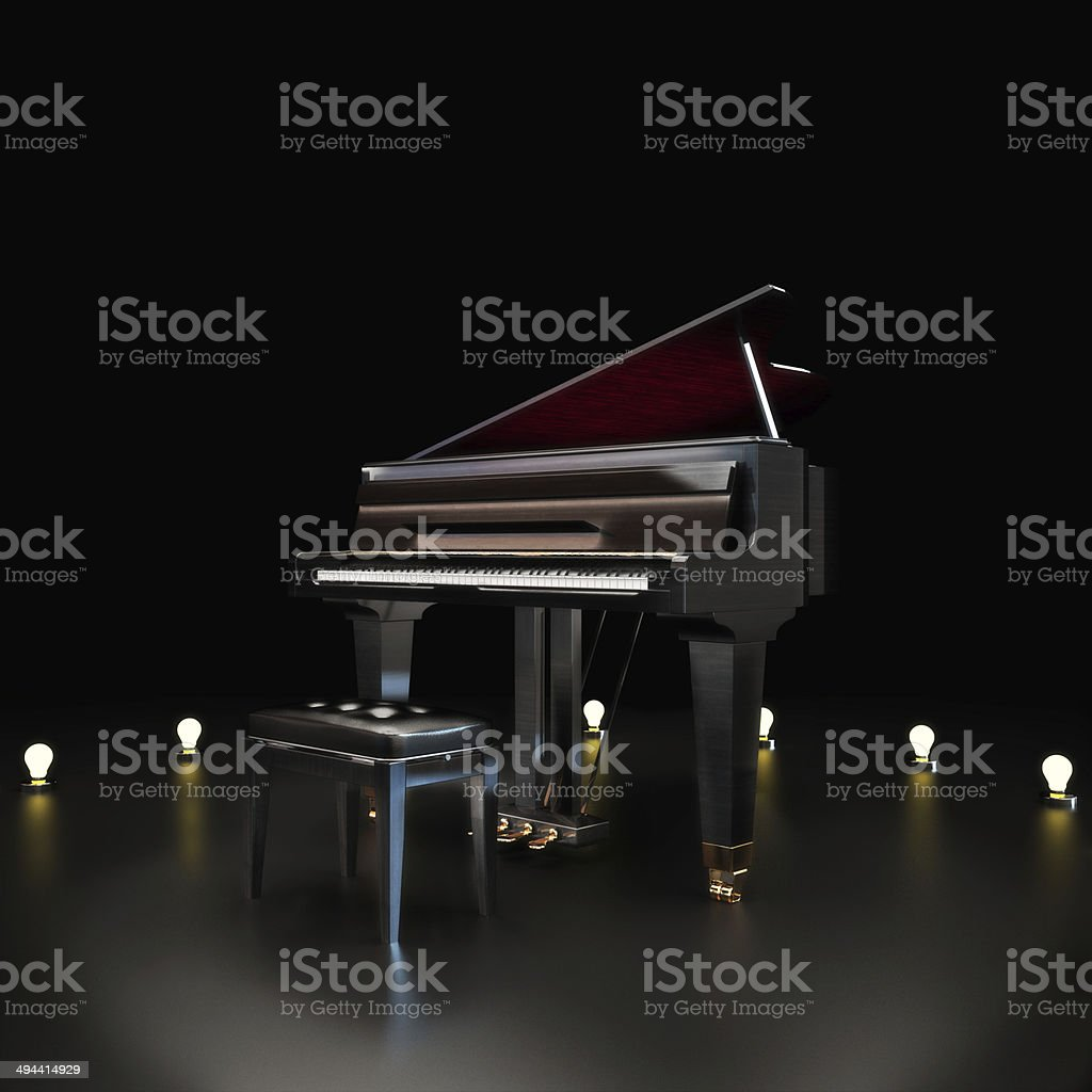 Elegant piano center stage with lighting accents stock photo