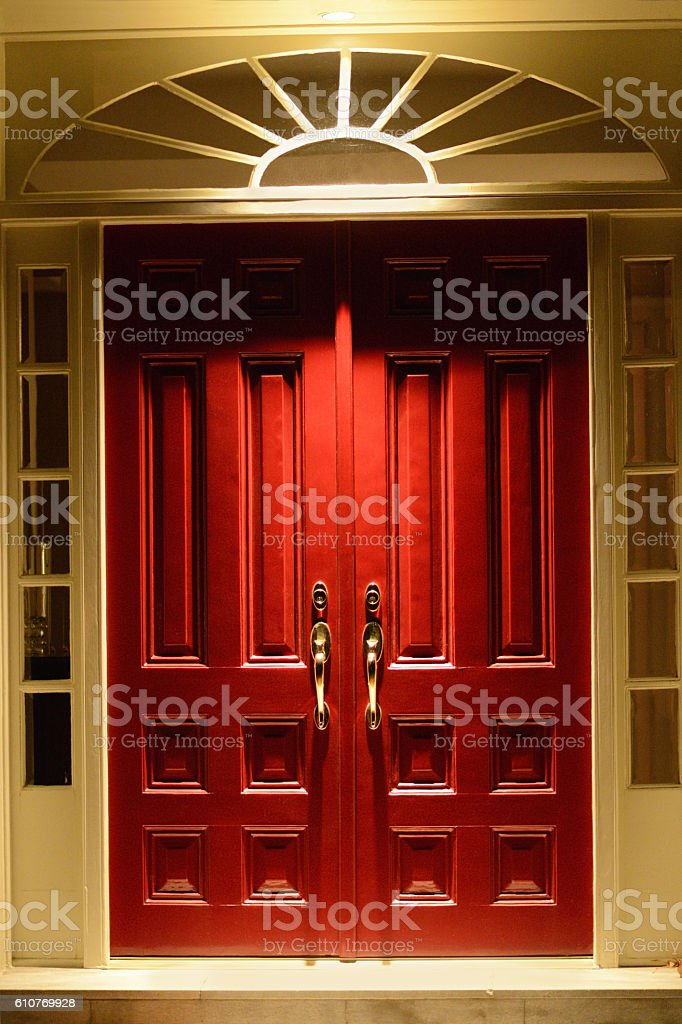Elegant Red Double Estate Doors stock photo