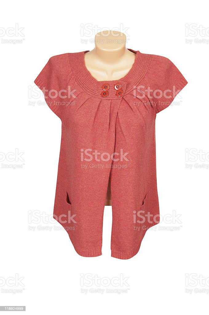 Elegant  red  tunic on a white. royalty-free stock photo