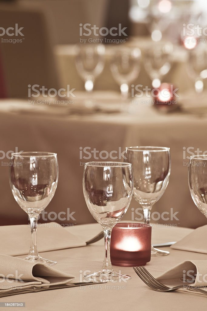 Elegant Restaurant at Night stock photo