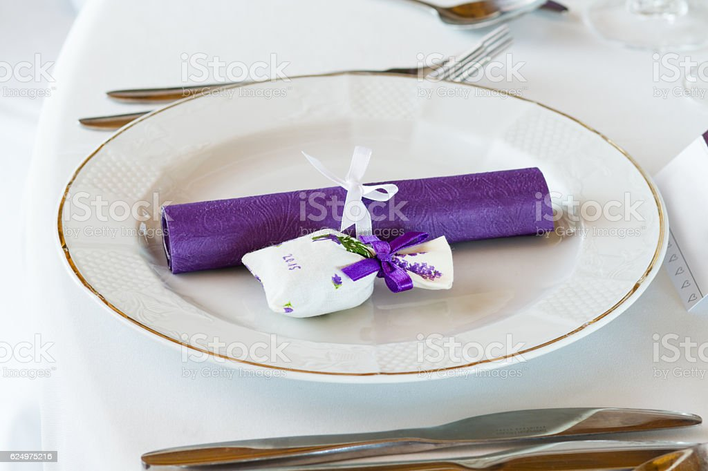 elegant restaurant table set for event stock photo