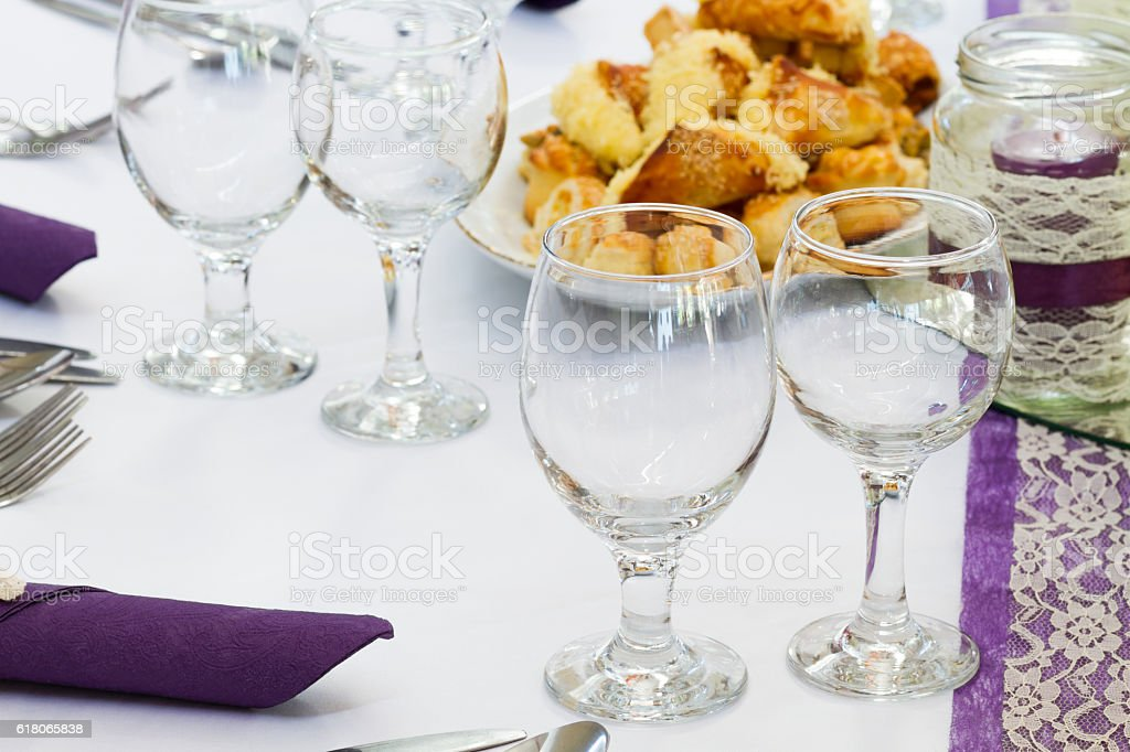 elegant restaurant table set for event, wedding place stock photo
