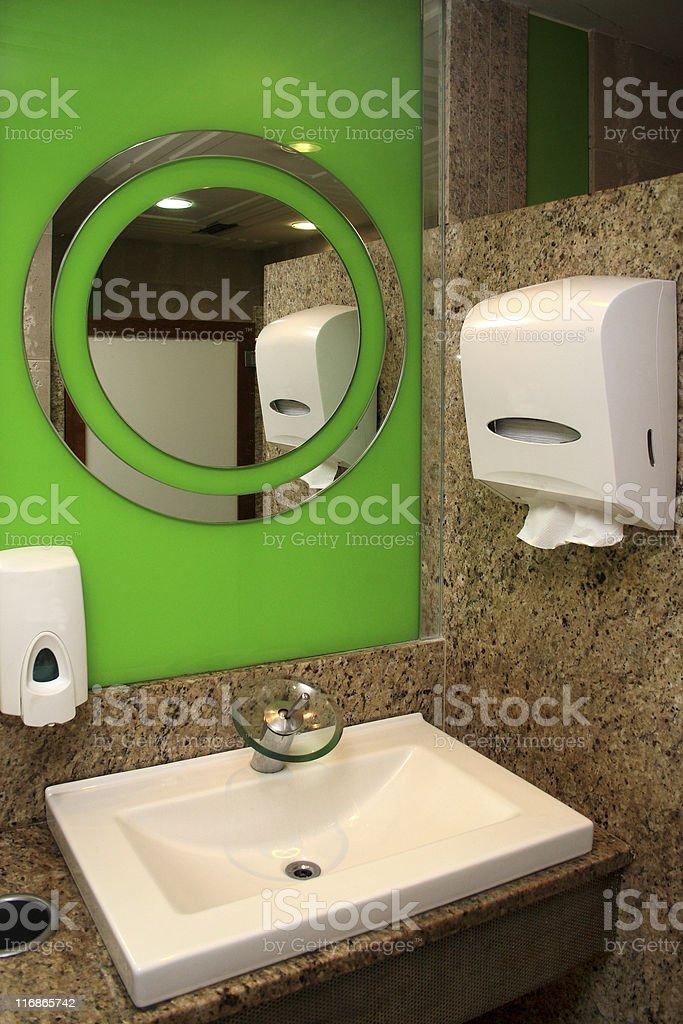 Elegant restroom - sink and tap stock photo