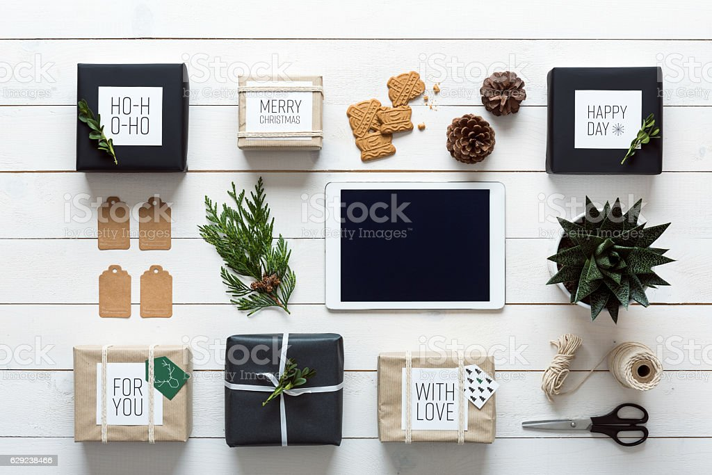 Elegant retro christmas, desk view from above, online shopping concept stock photo