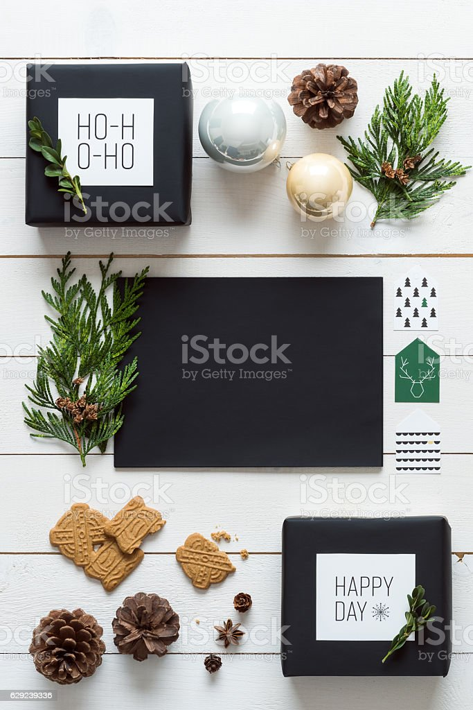 Elegant retro christmas, wrapping station, letter to santa concept stock photo