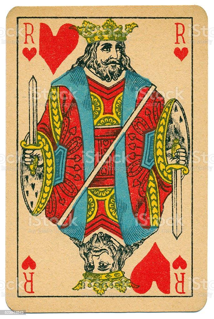 Elegant Roi King of Hearts Biermans playing card Belgium 1910 stock photo