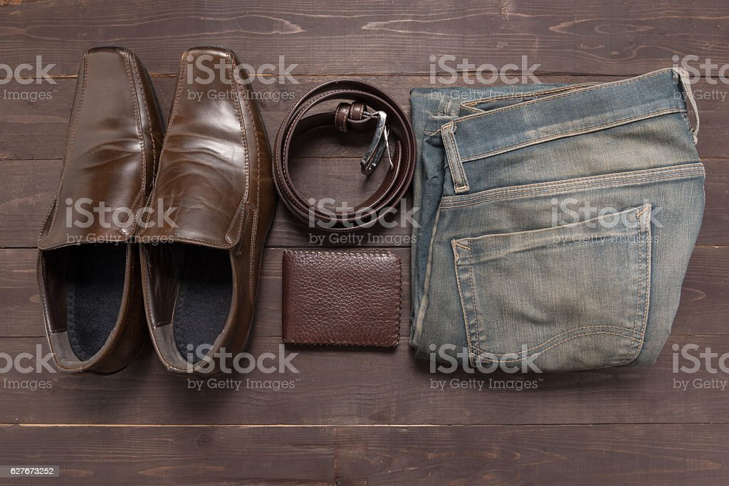 Elegant set: brown wallet, brown men's shoes, brown leather belt stock photo