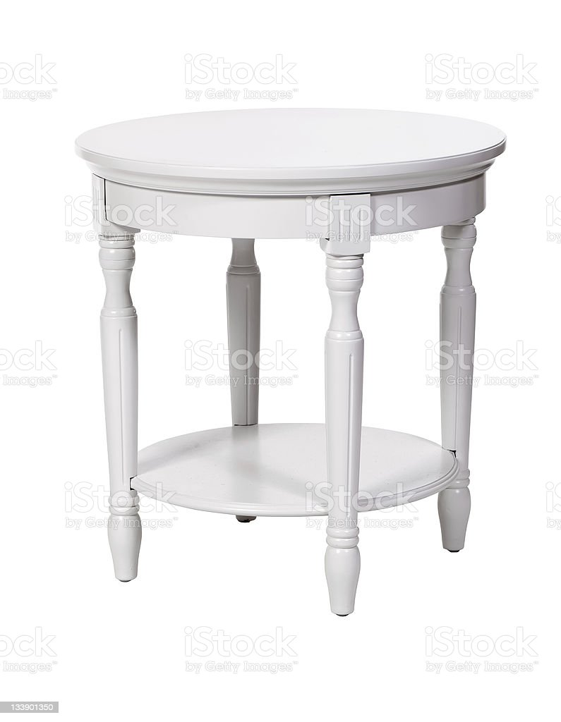 Elegant side table over white, with clipping path royalty-free stock photo