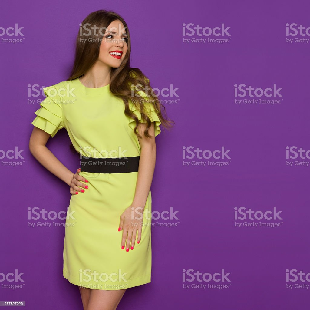 Elegant Smiling Woman In Lime Green Dress Looking Away stock photo